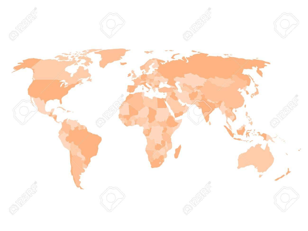 Cartina Mondo Vuota.Vettoriale La Mappa Politica Vuota Di Mondo In Quattro Tonalita Di Sfondo Arancione E Bianco Mappa Vettoriale Semplificata Image 50510421