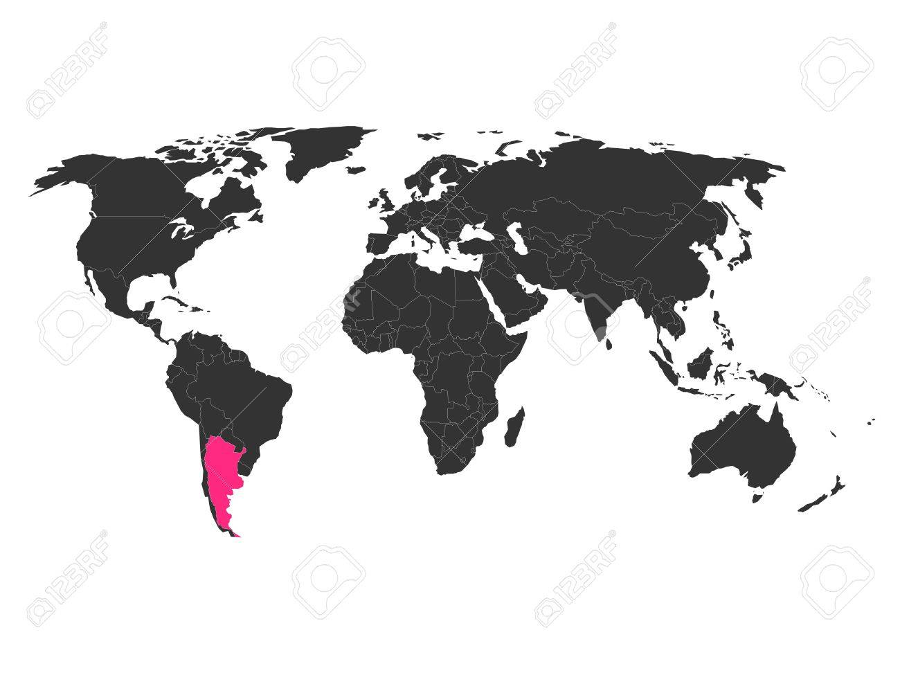 World Map With Highlighted Argentina. Simlified Political Vector ...