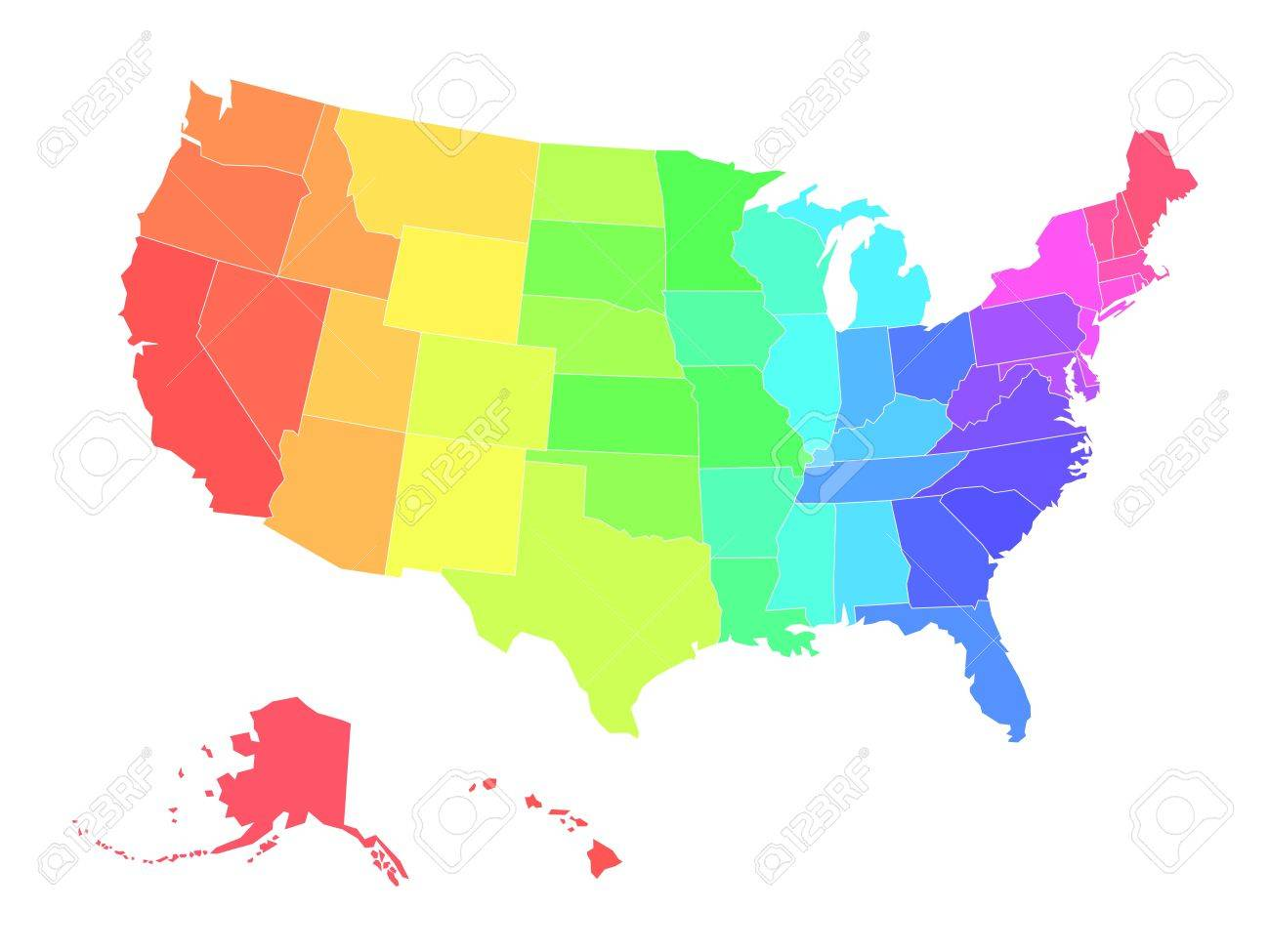 Multicolored Blank Map Of USA In Colors Of Rainbow. Simplified ...