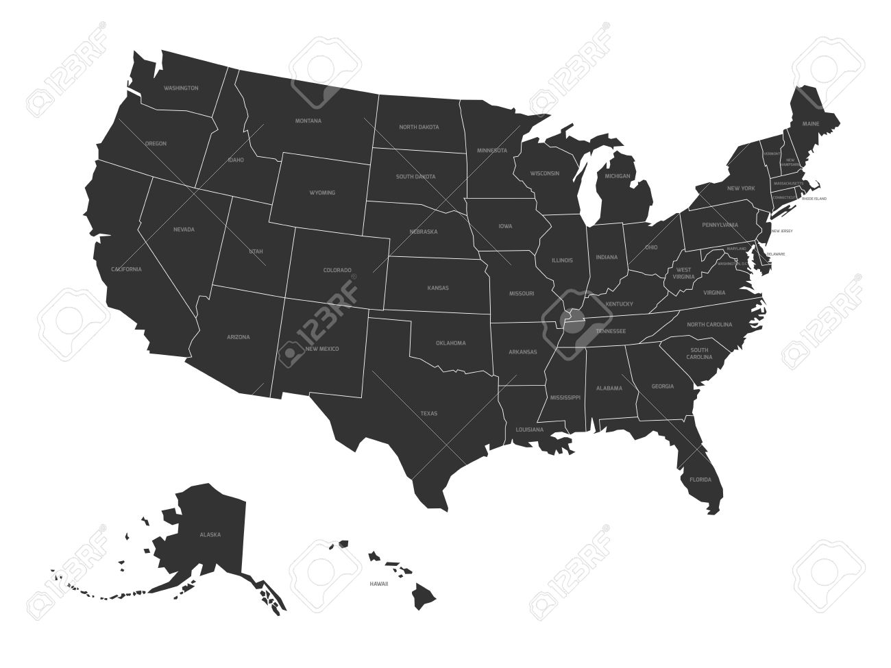 Map of United States of America with state names. Simplified..