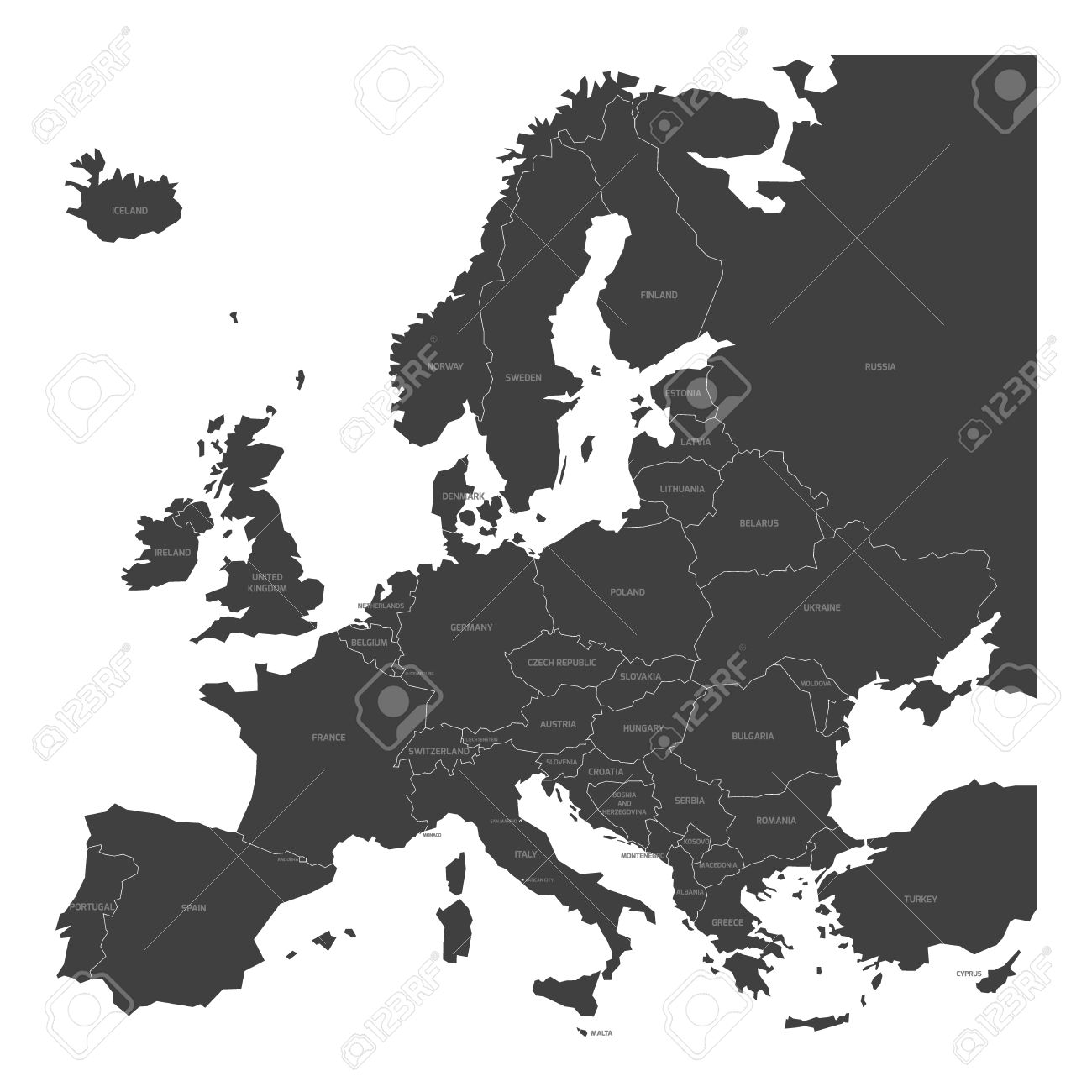Map of europe with names of sovereign countries ministates map of europe with names of sovereign countries ministates included simplified dark grey vector gumiabroncs Images
