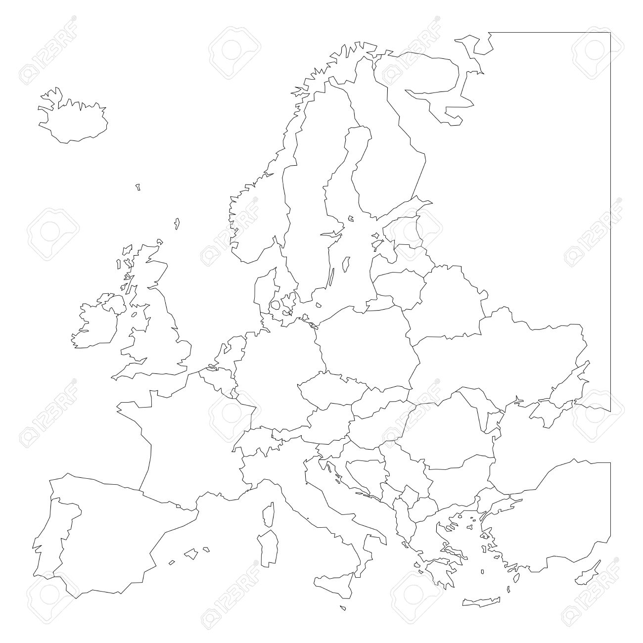 carte de l europe noir et blanc Blank Outline Map Of Europe. Simplified Vector Map Made Of Black