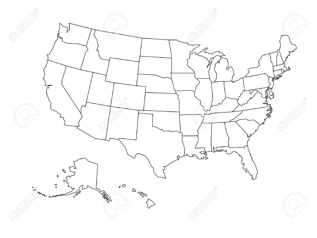 Blank outline map of United States of America. Simplified vector map made of black outline on white background. - 51846552