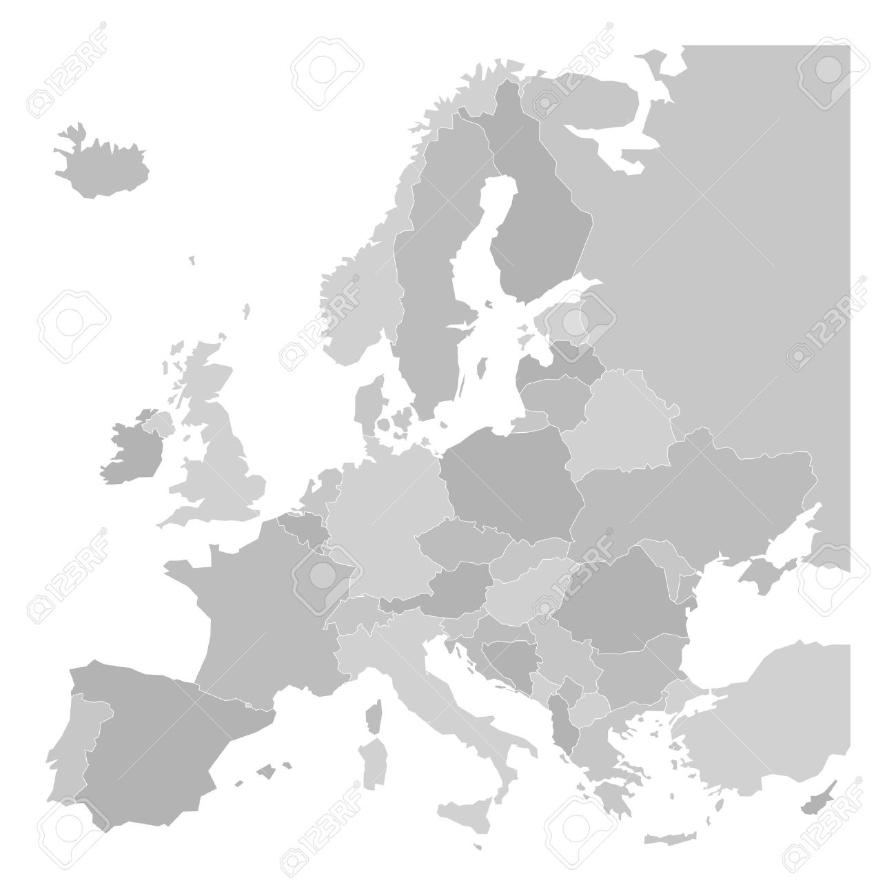 White Map Of Europe.Blank Map Of Europe Vector Illustration In Grey Shades On White
