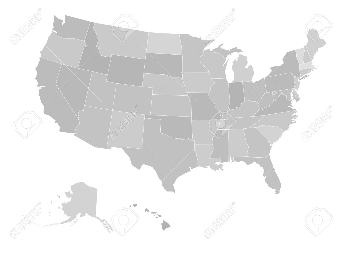 Blank Map Of United States Of America. Vector Illustration In ...