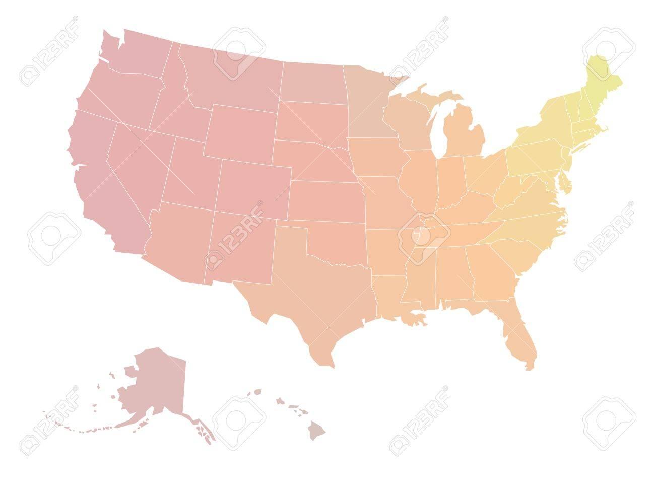 Cartina Muta Delle Americhe.Vettoriale Mappa Muta Degli Stati Uniti D America Illustrazione Vettoriale In Tonalita Di Scala Colore Giallo Rosso Su Sfondo Bianco Image 53888143