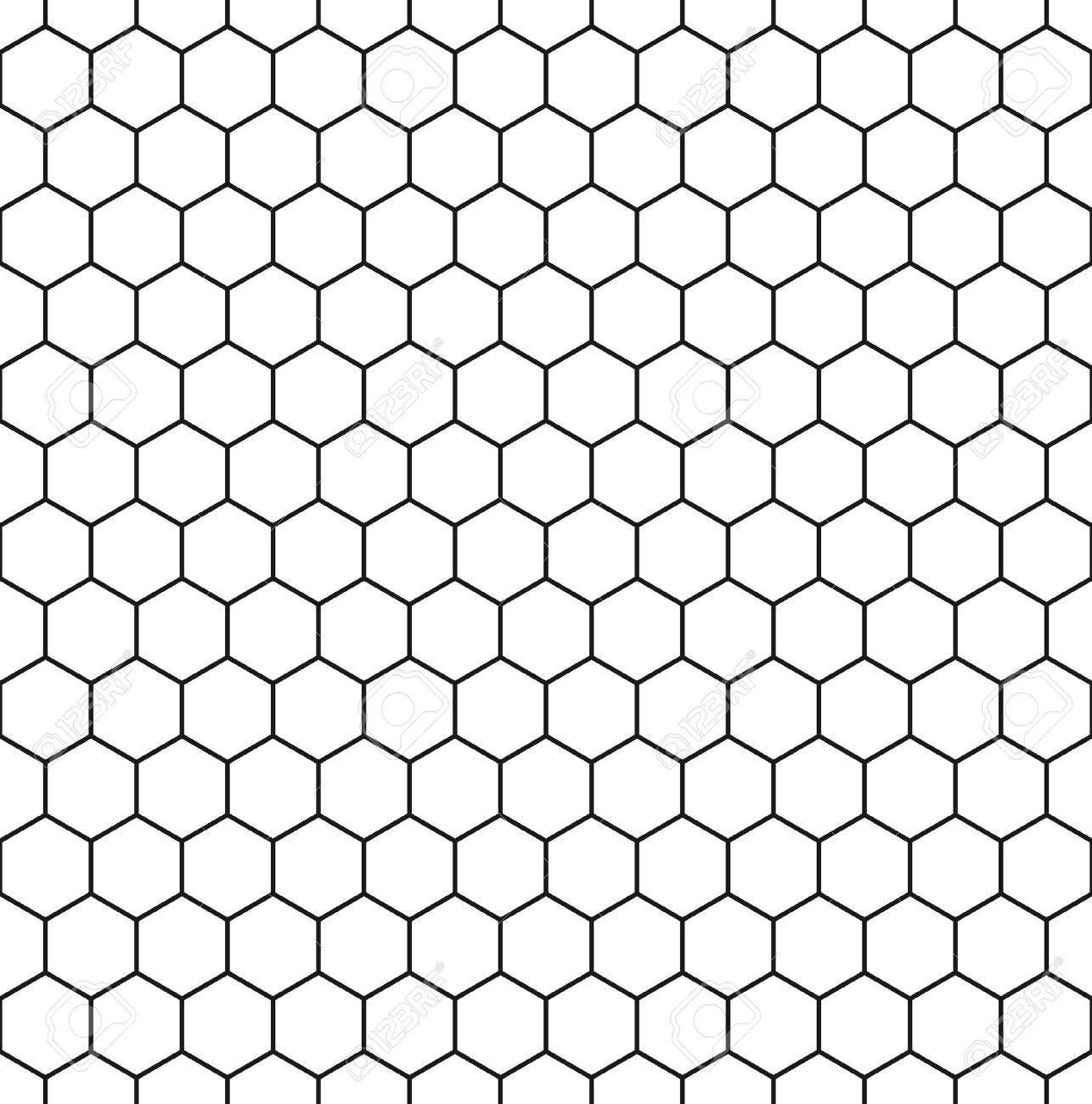 Seamless hexagonal background in white with dark grey borders. Vector illustration. - 53888578