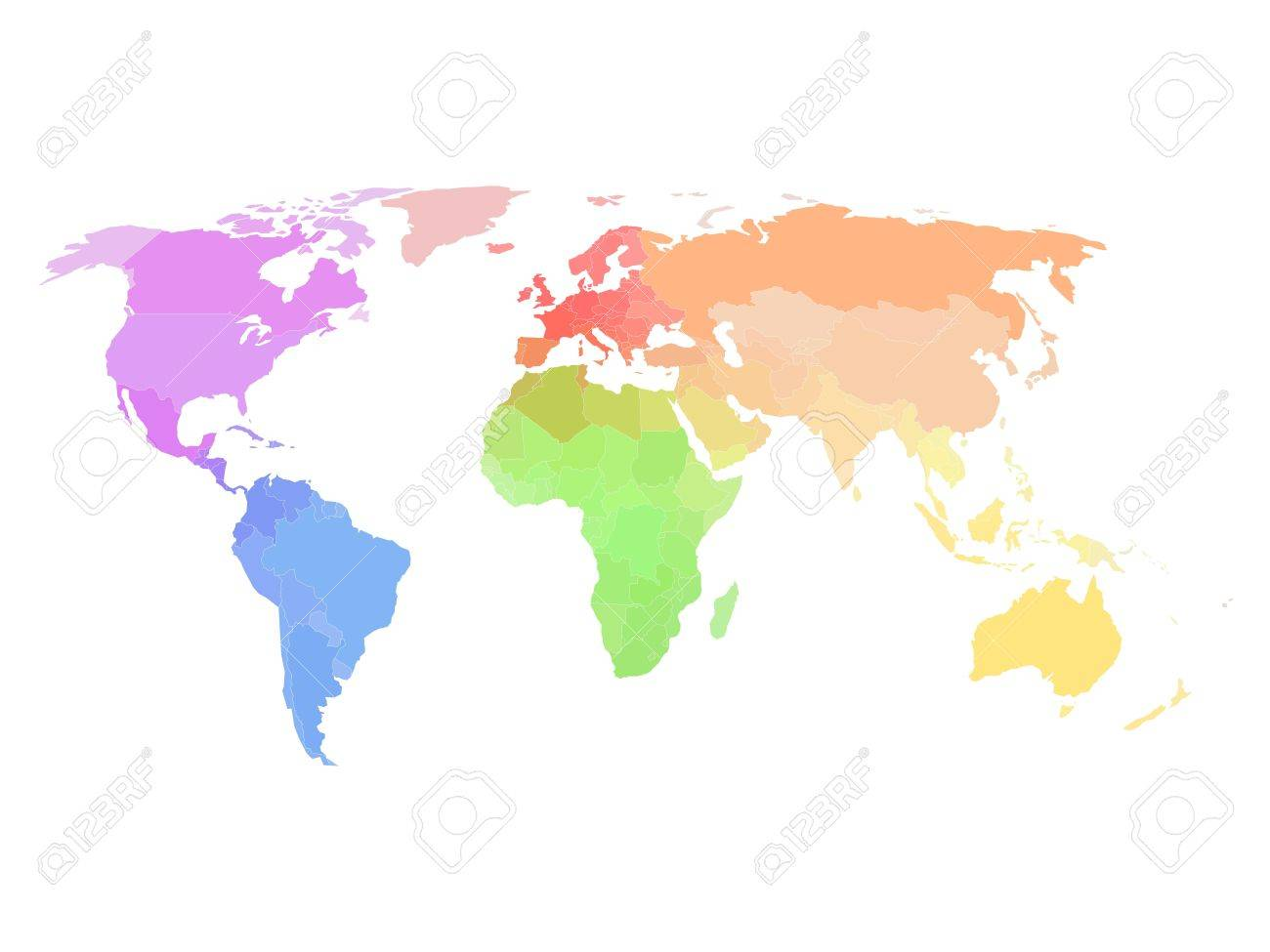 Colored political world map different colors for each continent colored political world map different colors for each continent stock vector 53888750 gumiabroncs Images