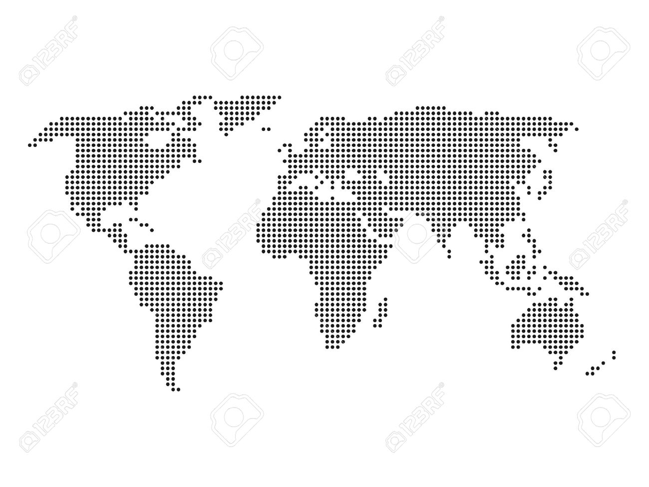 Vettoriale Mappa Del Mondo Tratteggiata Mappa Nero Su Sfondo