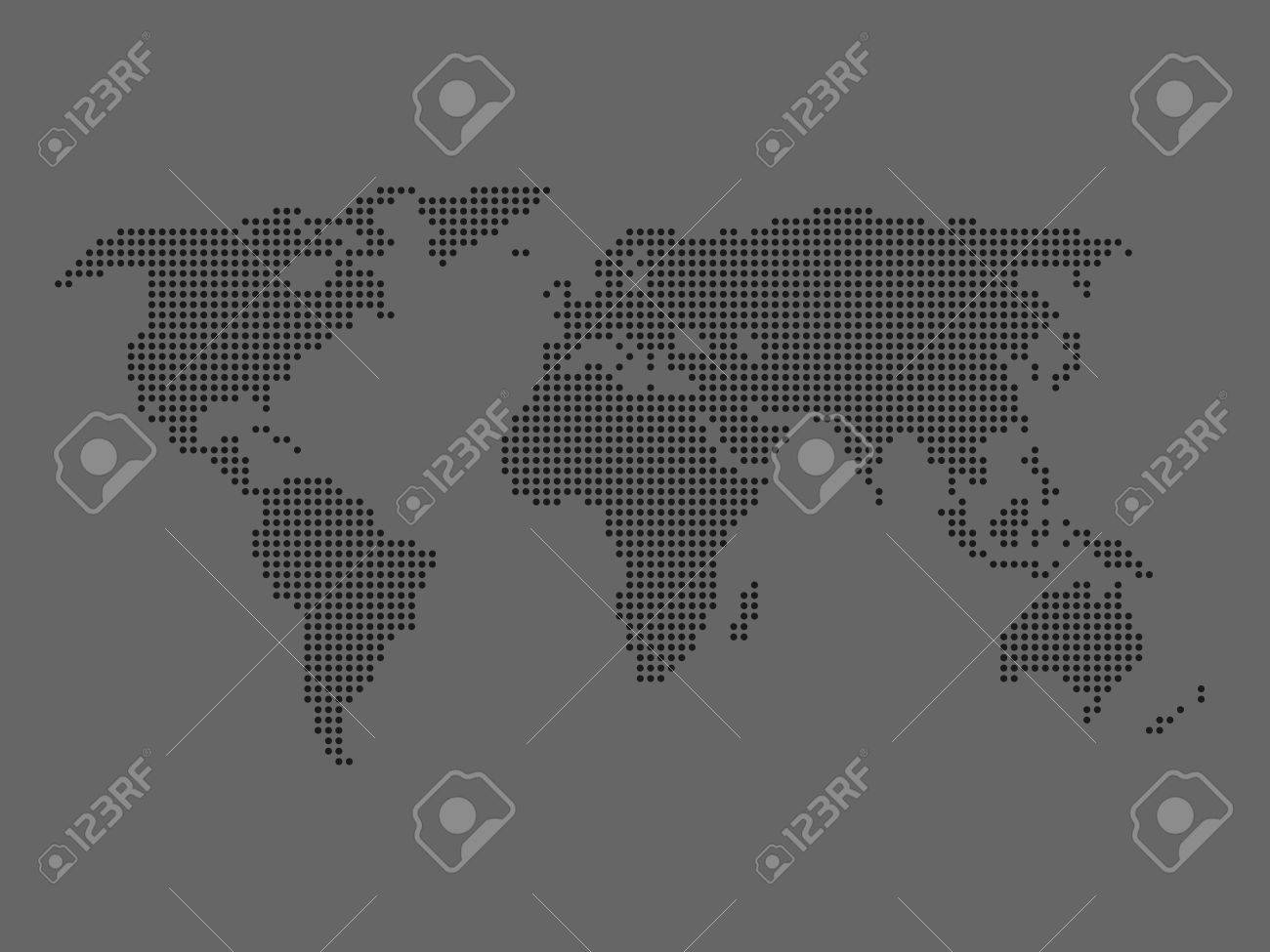 Dotted world map dark grey map on grey background vector dotted world map dark grey map on grey background vector illustration made of small gumiabroncs Images