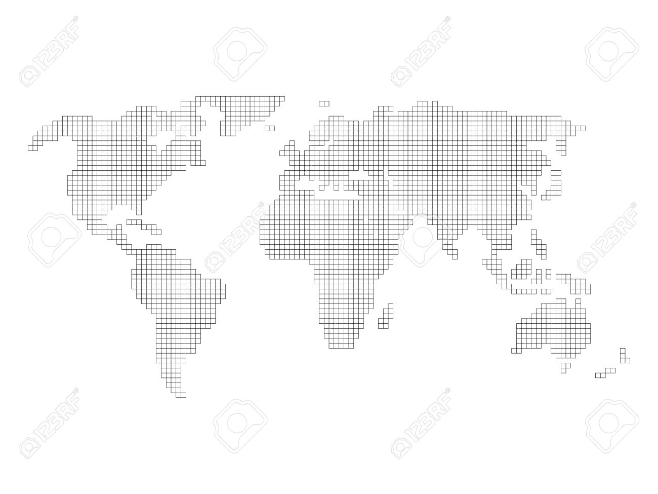 World map grid tiled by small squares with black outline and vector world map grid tiled by small squares with black outline and white fill on white background gumiabroncs Images