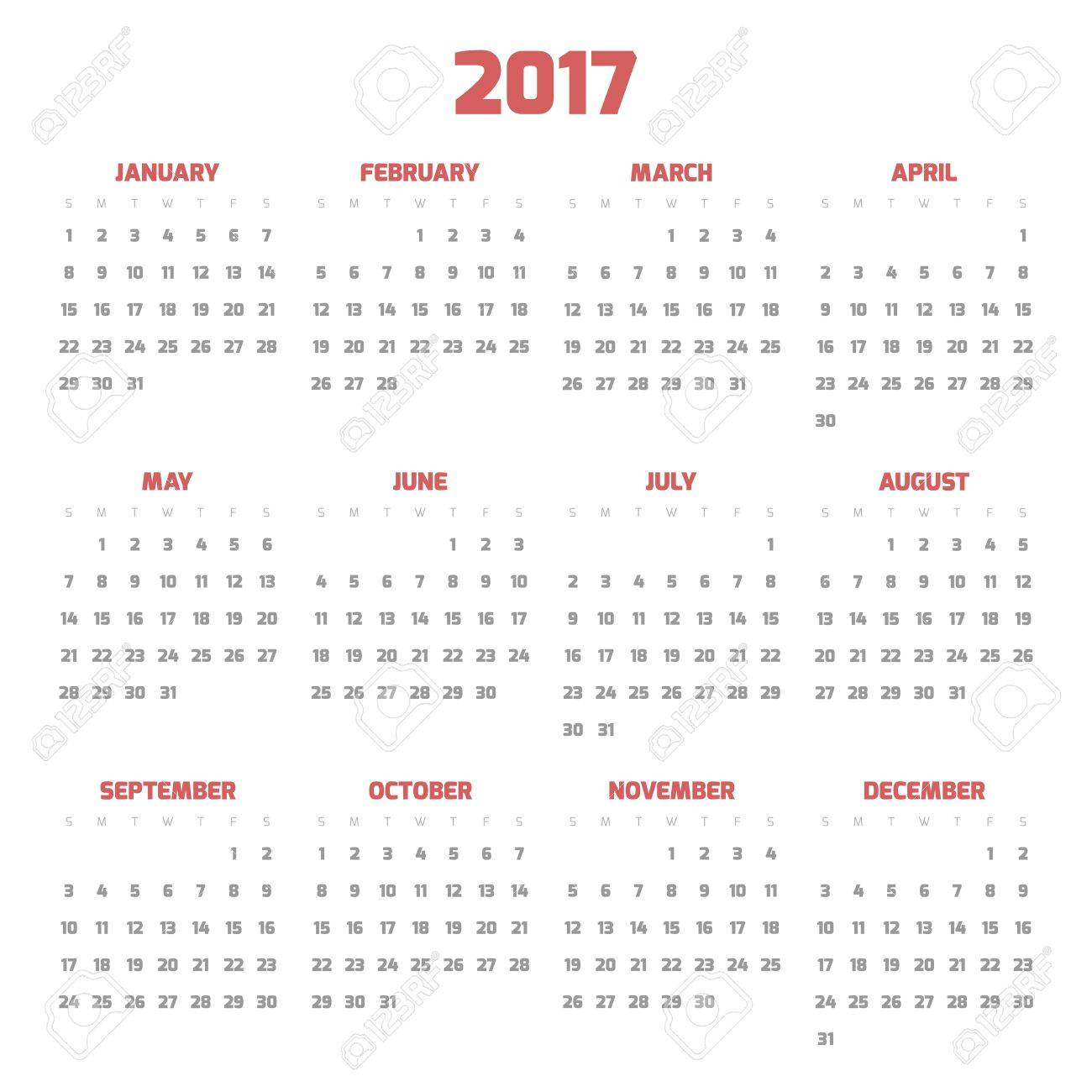 Calendar For Year 2017. Four Months In Three Rows. Weeks Start ...