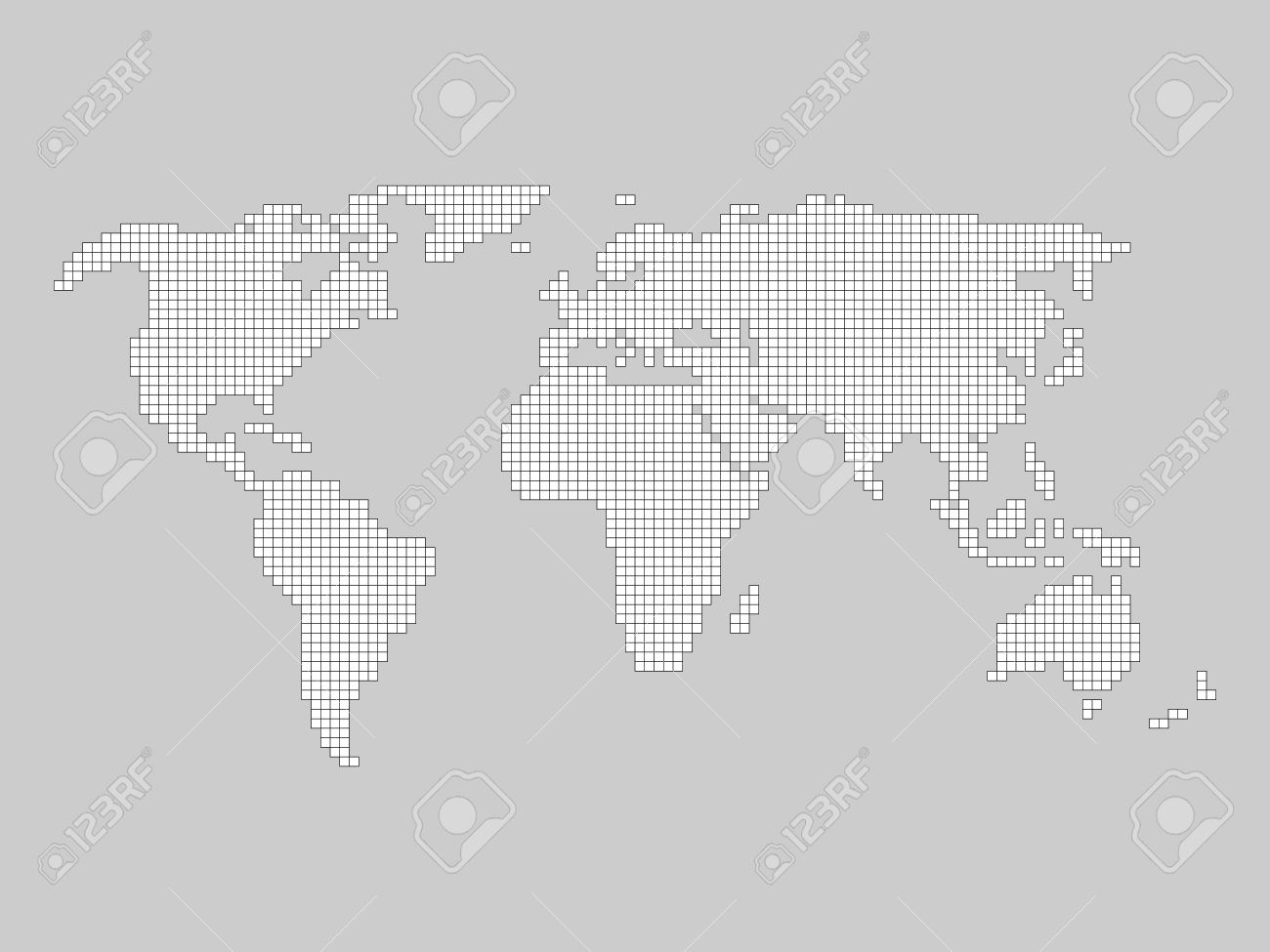 World map grid tiled by small squares with black outline and vector world map grid tiled by small squares with black outline and white fill on grey background gumiabroncs Image collections