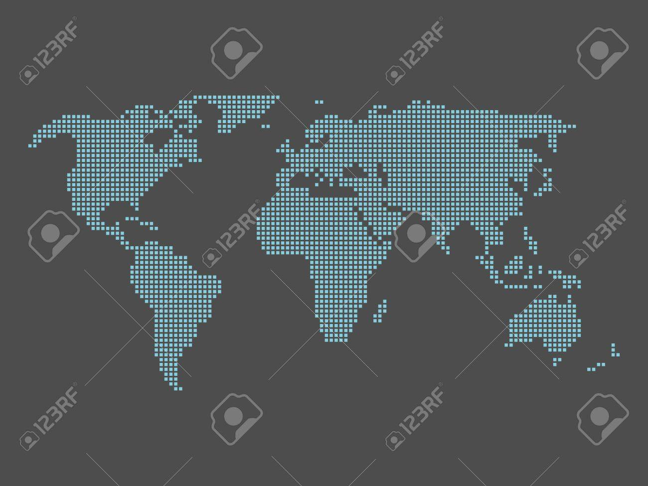 World map tiled by small blue squares on dark grey background vector world map tiled by small blue squares on dark grey background gumiabroncs Gallery