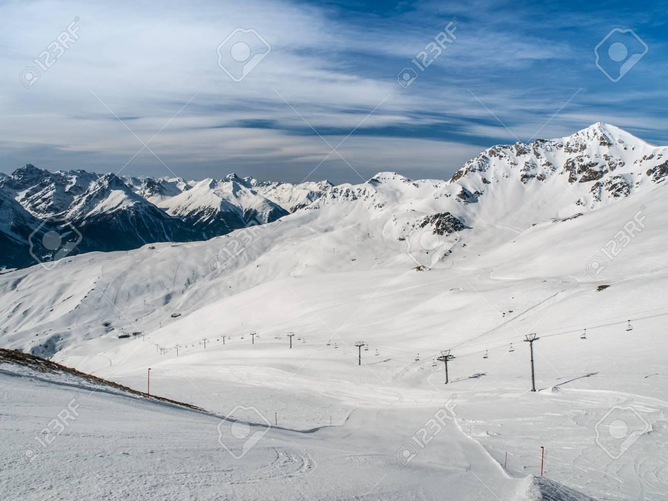 alpine ski resort scuol in swiss alps, graubunden, switzerland stock