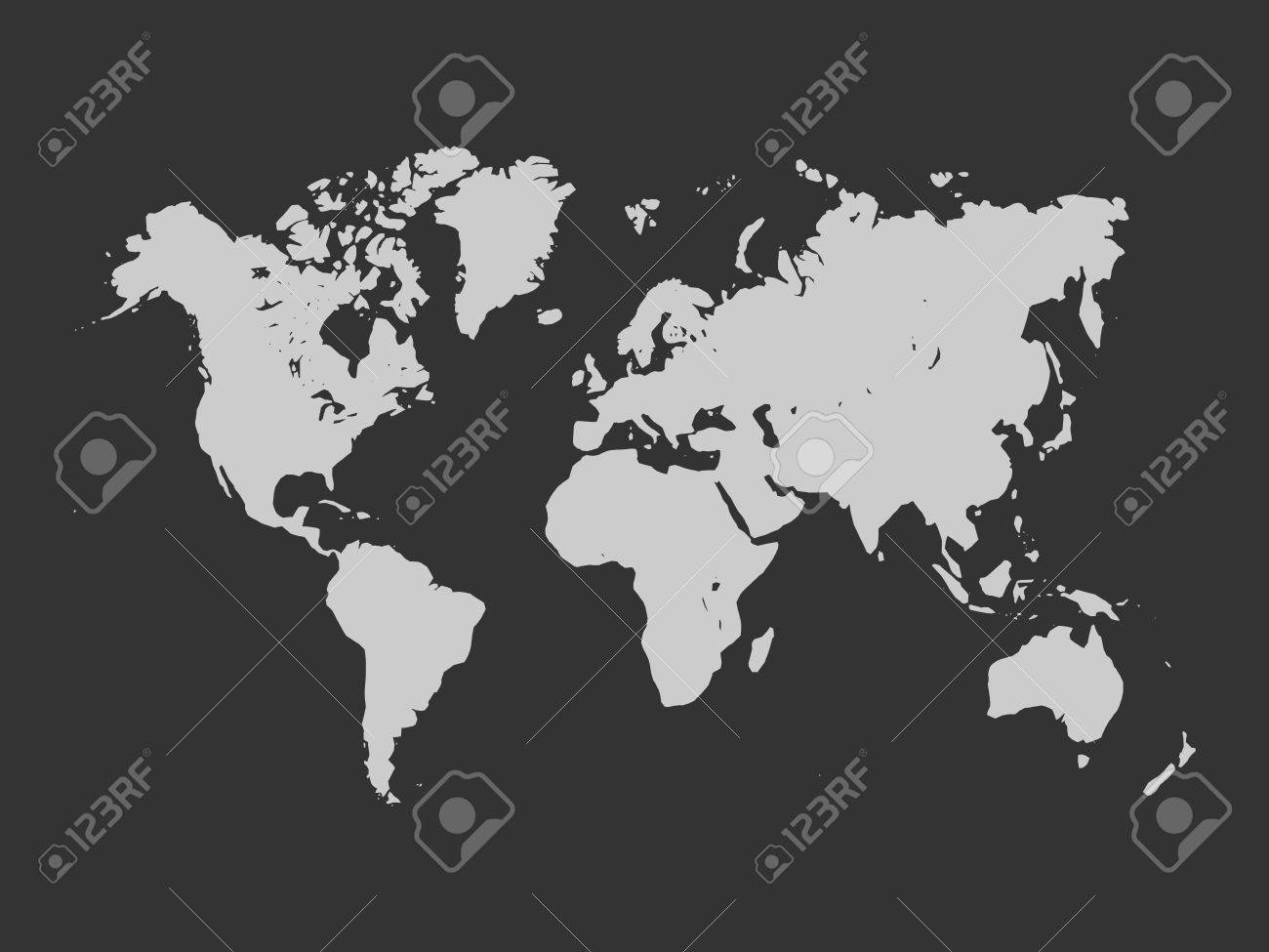 Map of world light grey silhouette on dark grey background map of world light grey silhouette on dark grey background simplified world map stock gumiabroncs Image collections