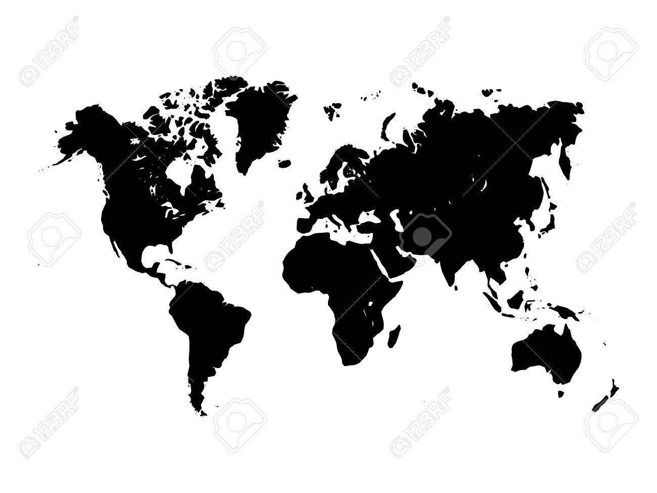 Map of world black silhouette on white background simplified map of world black silhouette on white background simplified world map stock vector gumiabroncs Images