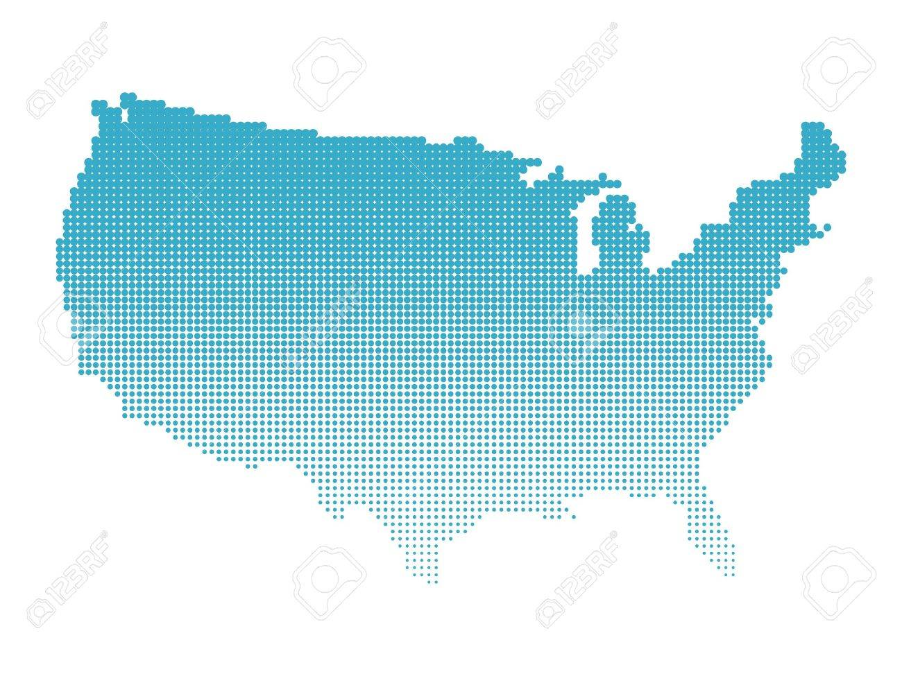 halftone map of usa map of united states of america made of dots blue
