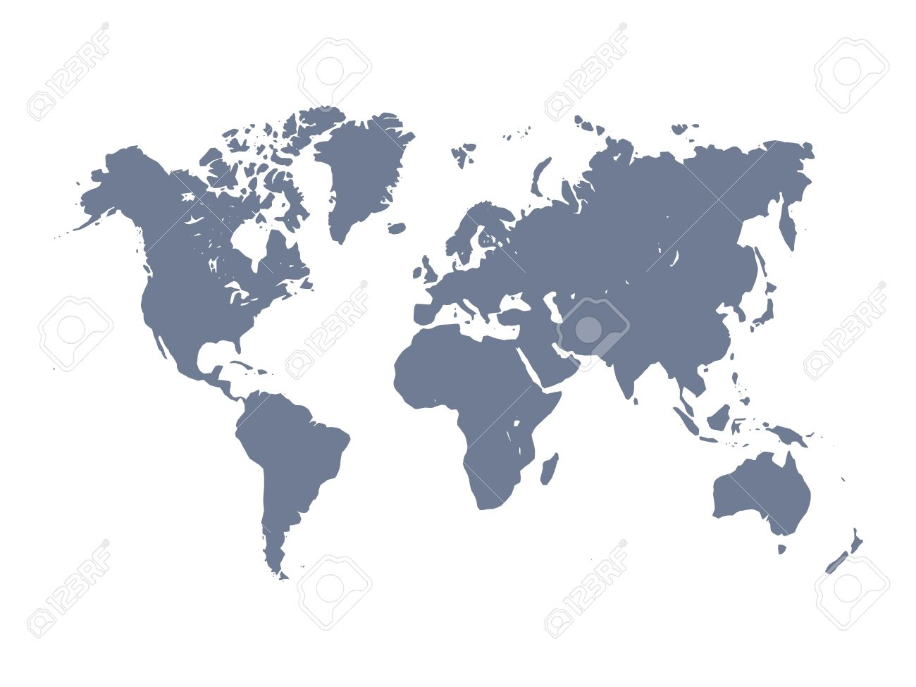 Vector Map Of World Violet Silhouette On White Background