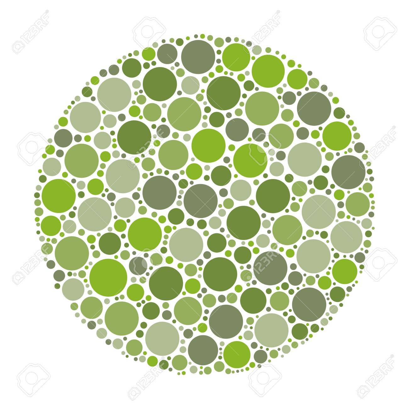 Circle Made Of Dots In Shades Of Green. Abstract Vector Illustration ...