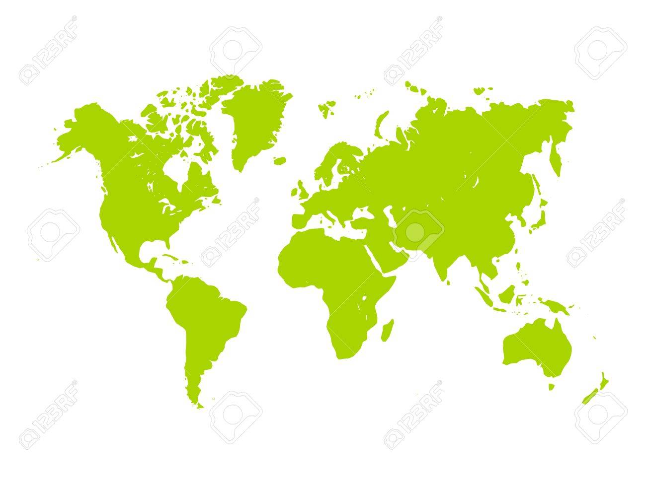 Vector map of world green silhouette on white background vector vector map of world green silhouette on white background simplified world map gumiabroncs Image collections
