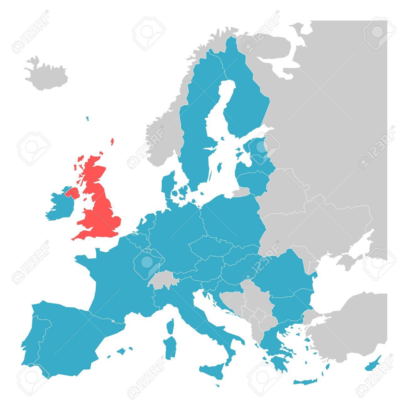 Brexit Theme Map Map Of Europe With Highlighted EU Member States - United kingdom europe map
