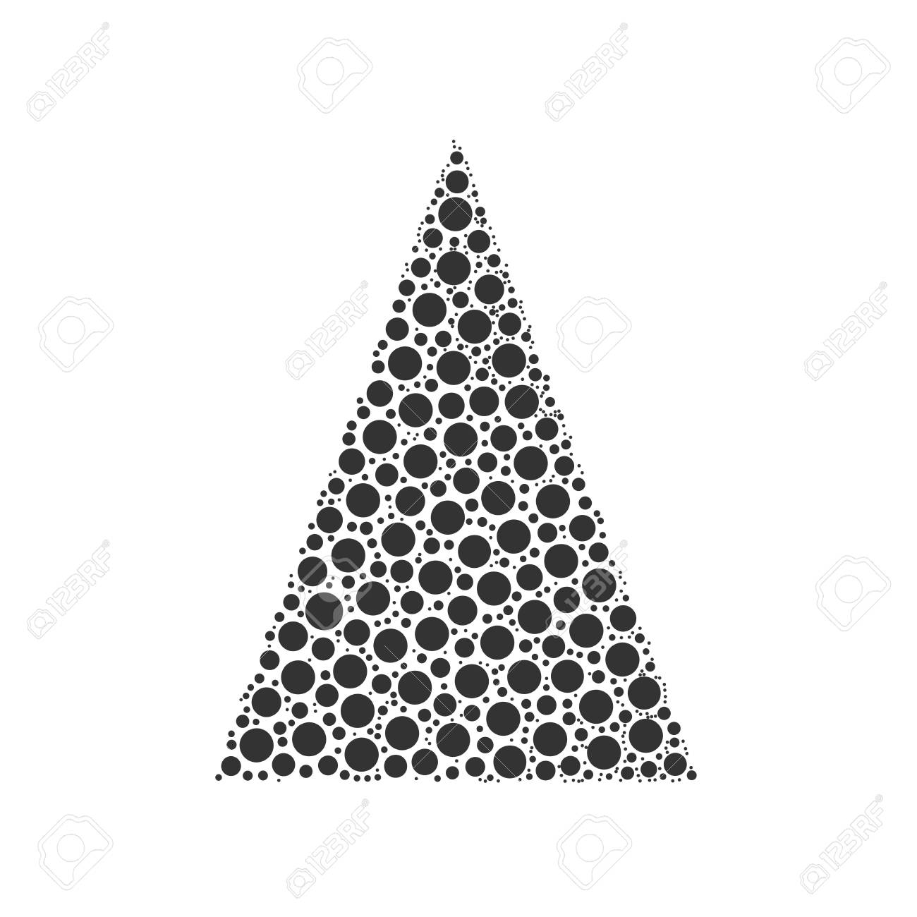 Simple Abstract Chrismas Tree Of Dots Or Circles In A Triangle Shape Black