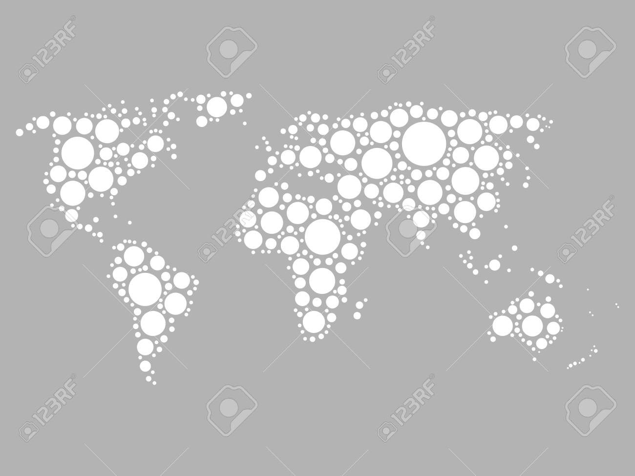 World map mosaic of white dots in various sizes on grey background vector world map mosaic of white dots in various sizes on grey background vector illustration modern style world map background theme gumiabroncs Image collections