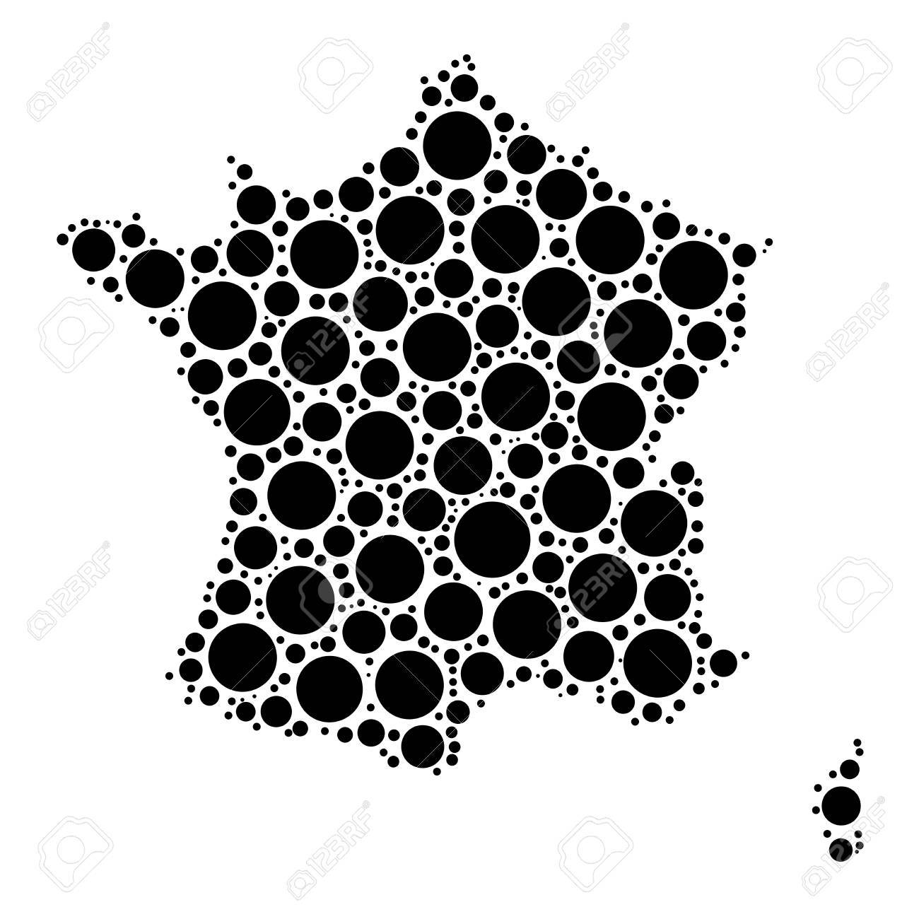 France Map Mosaic Of Circles In Various Sizes. Black Dotted Vector ...