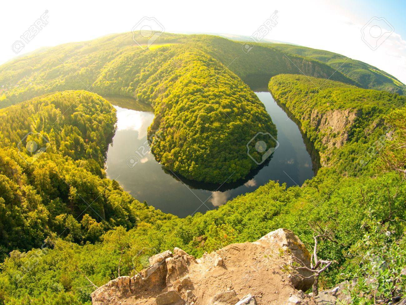 stock photo vltava river horseshoe meander with green forest view from maj vantage point near prague in central bohemia czech republic