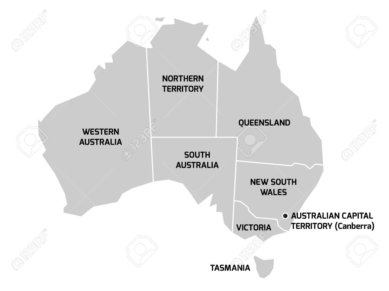 Australia Map Grey.Simplified Map Of Australia Divided Into States And Territories