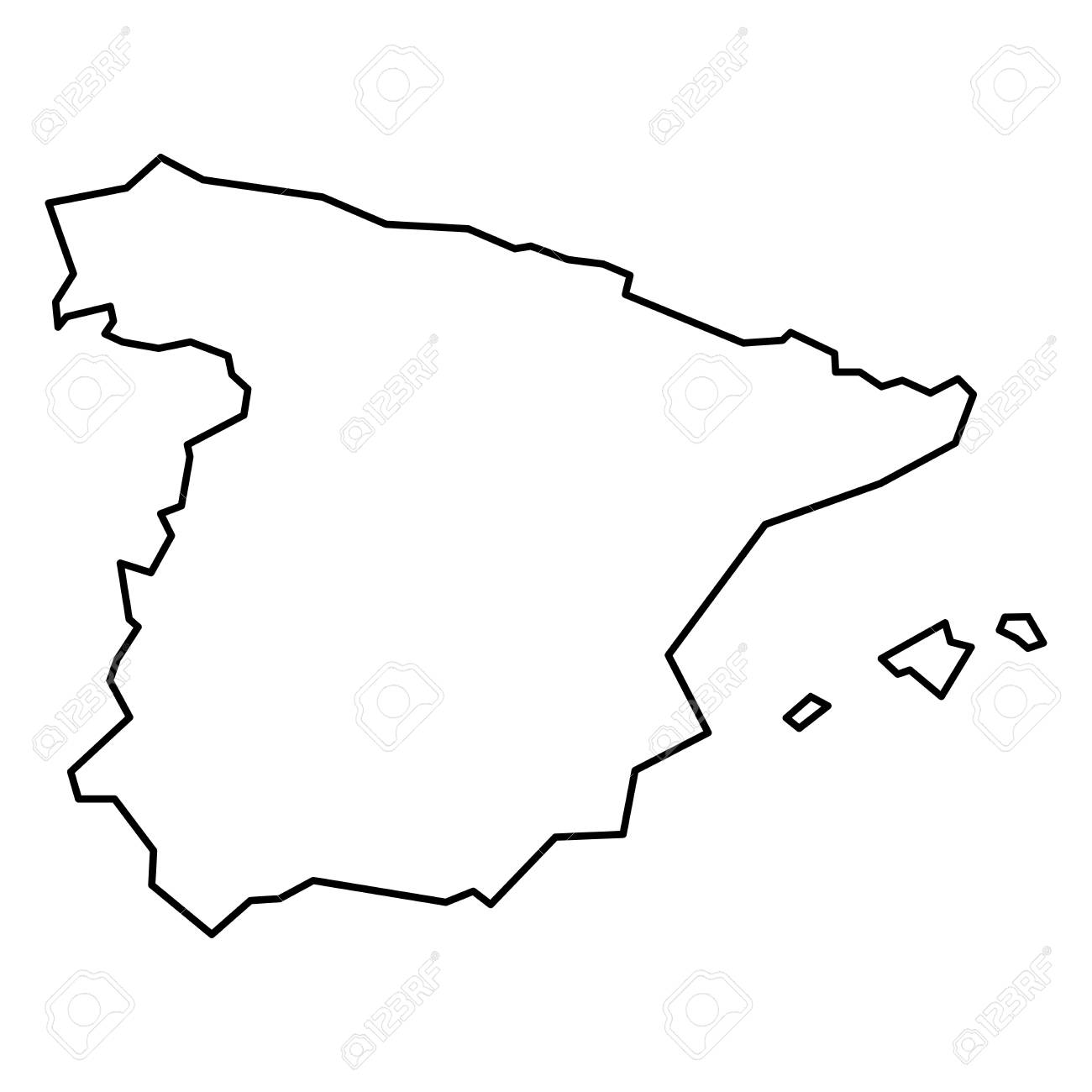 Simple Contour Map Of Spain Black Outline Map Isolated On White