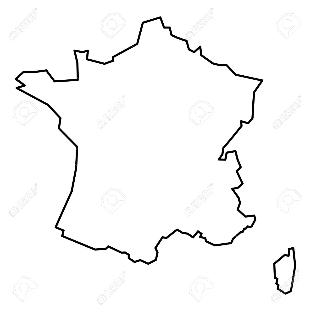 Simple Contour Map Of France Black Outline Map Isolated On White