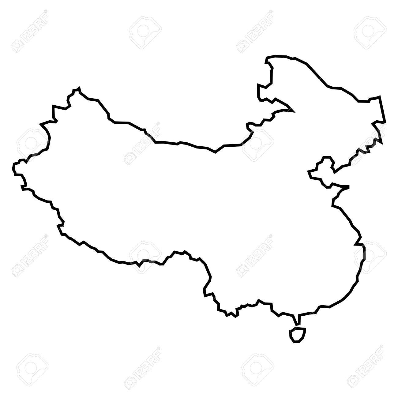 Simple Contour Map Of Peoples Republic Of China . Black Outline ...