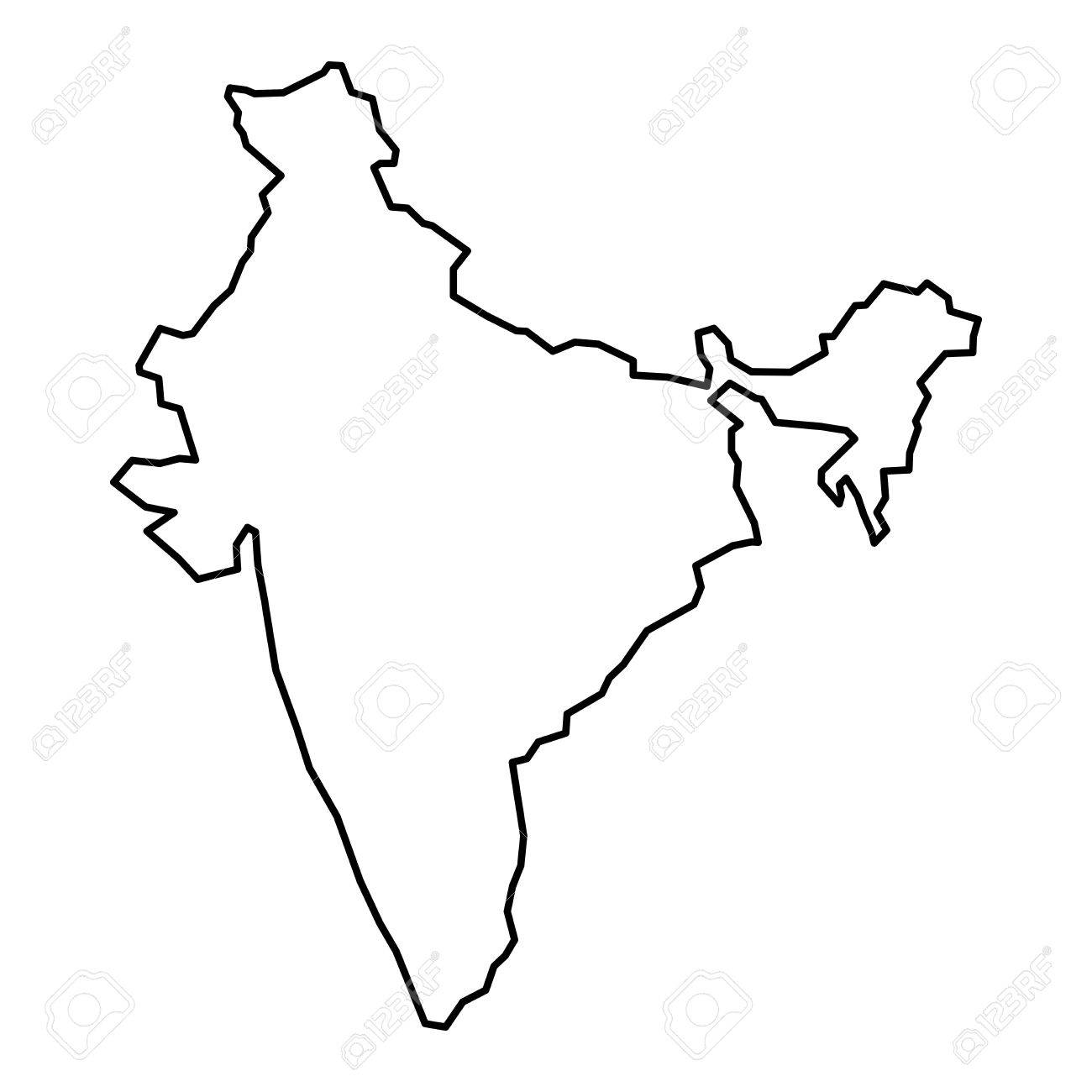 Simple Contour Map Of India. Black Outline Map Isolated On White ...