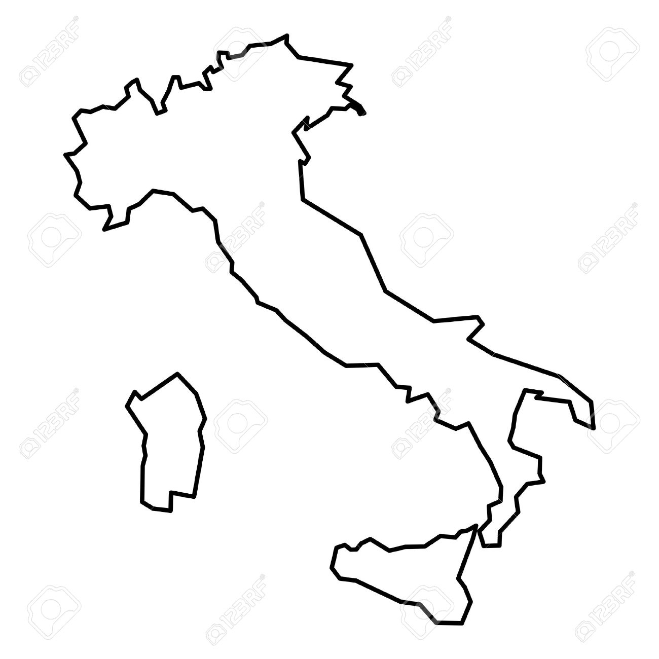 Black And White Map Of Italy.Simple Contour Map Of Italy Black Outline Map Isolated On White