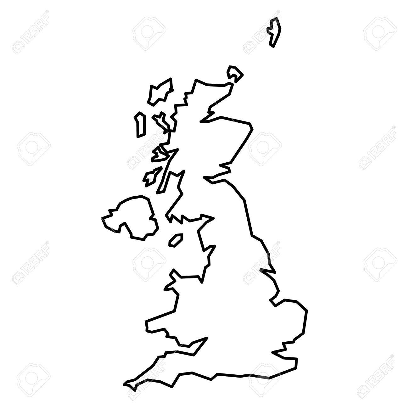 Britain Blank Map Simple Contour Map Of United Kingdom Of Great Britain And Northern