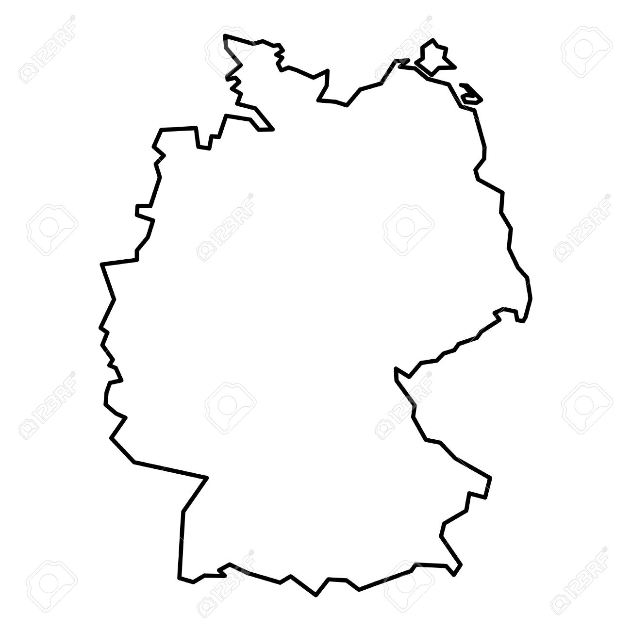 Simple Map Of Germany.Simple Contour Map Of Germany Black Outline Map Isolated On