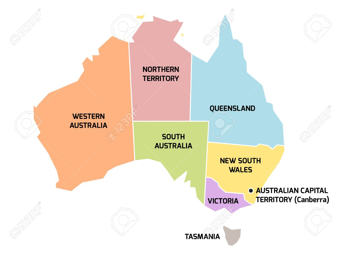 Simplified Map Of Australia Divided Into States And Territories – Territory Map of Australia