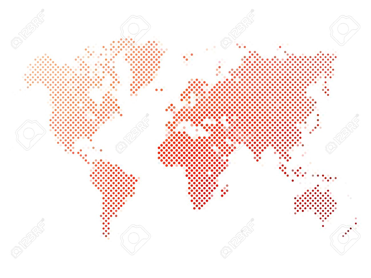 World map of red dots on white background in corss arrangement vector world map of red dots on white background in corss arrangement map of world silhouette flat halftone theme gumiabroncs Image collections