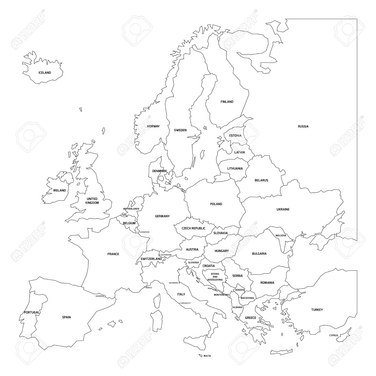 Outline Map Of Europe Simplified Map Made Of Black State Contous