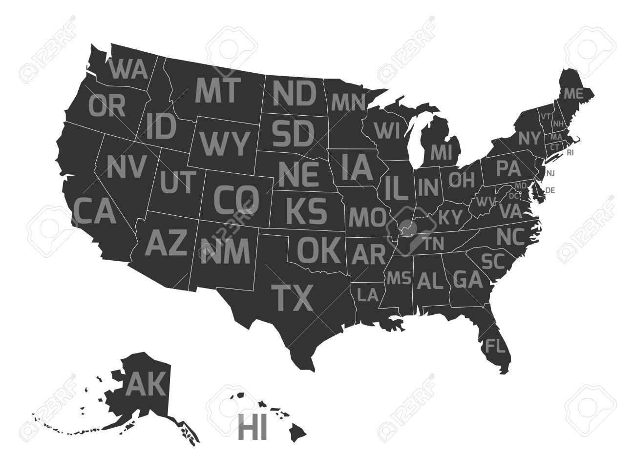 Map United States Od America Aka USA With US States
