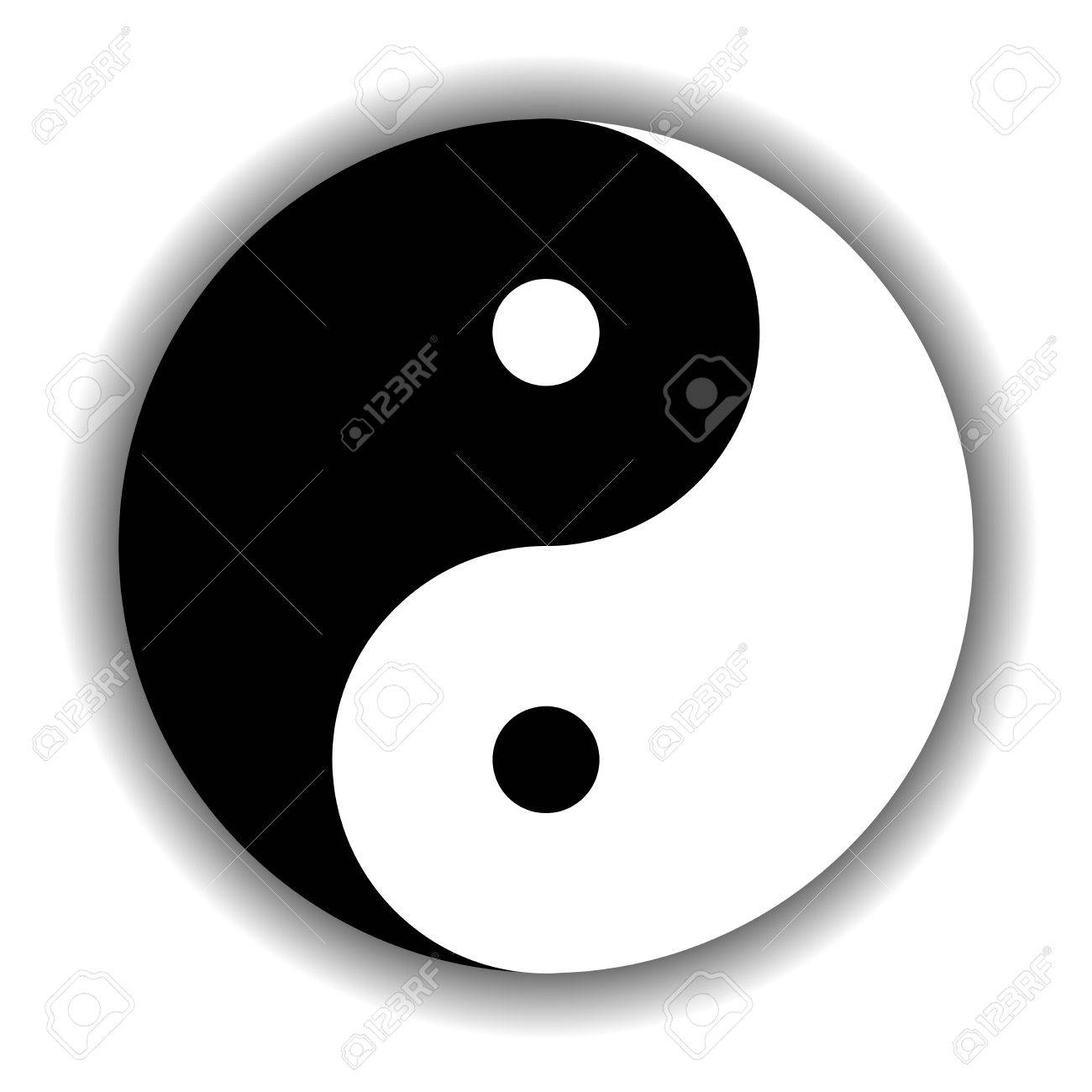 Yin Yang Symbol Icon Of Chinese Phylosophy Describes How Opposite