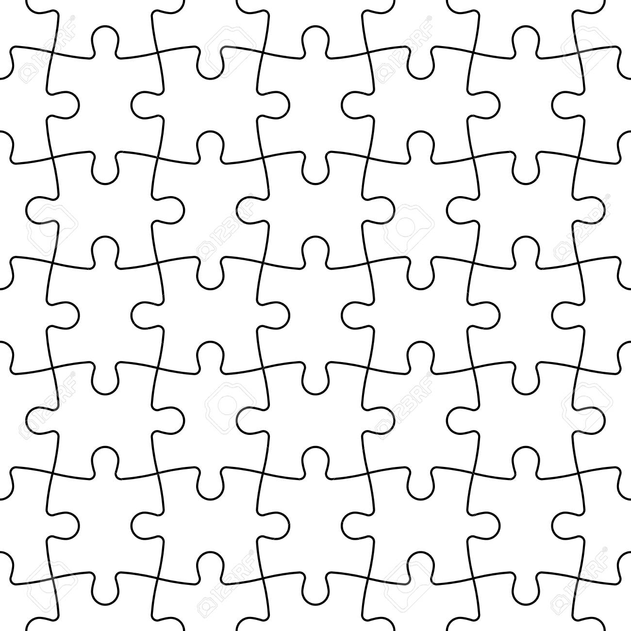 Jigsaw Puzzle Seamless Background Mosaic Of White Pieces With Black Outline In Linear Arrangement