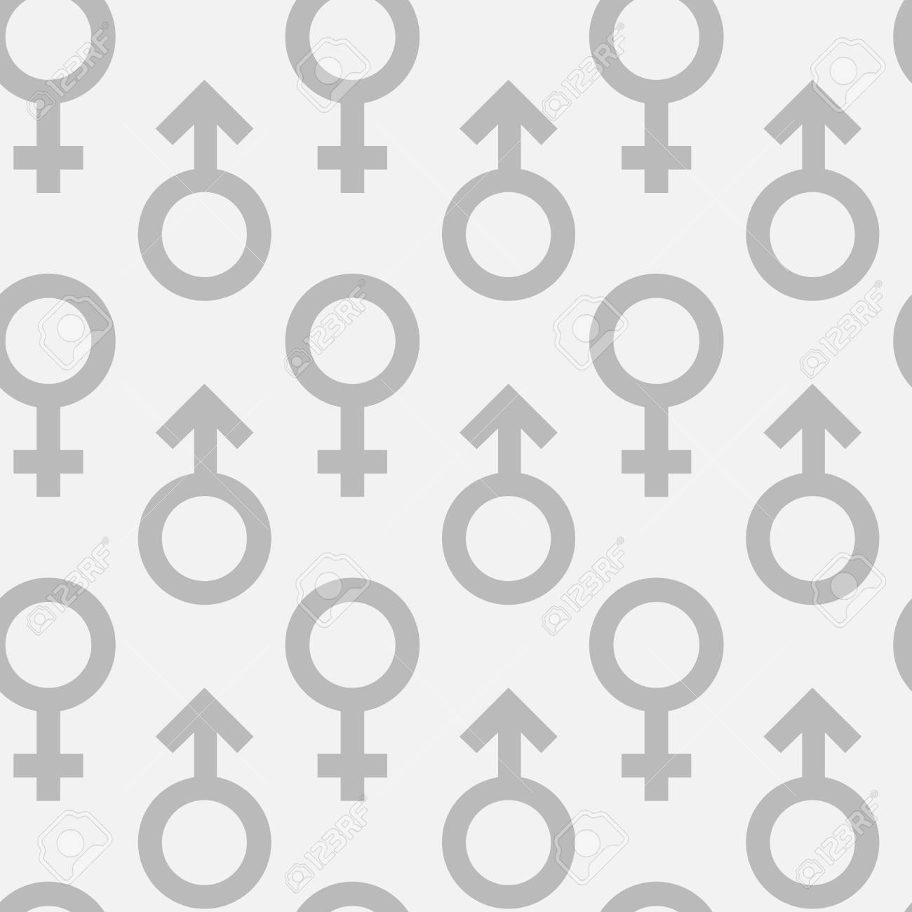 Seamless Pattern Of Grey Male And Female Gender Symbols On White
