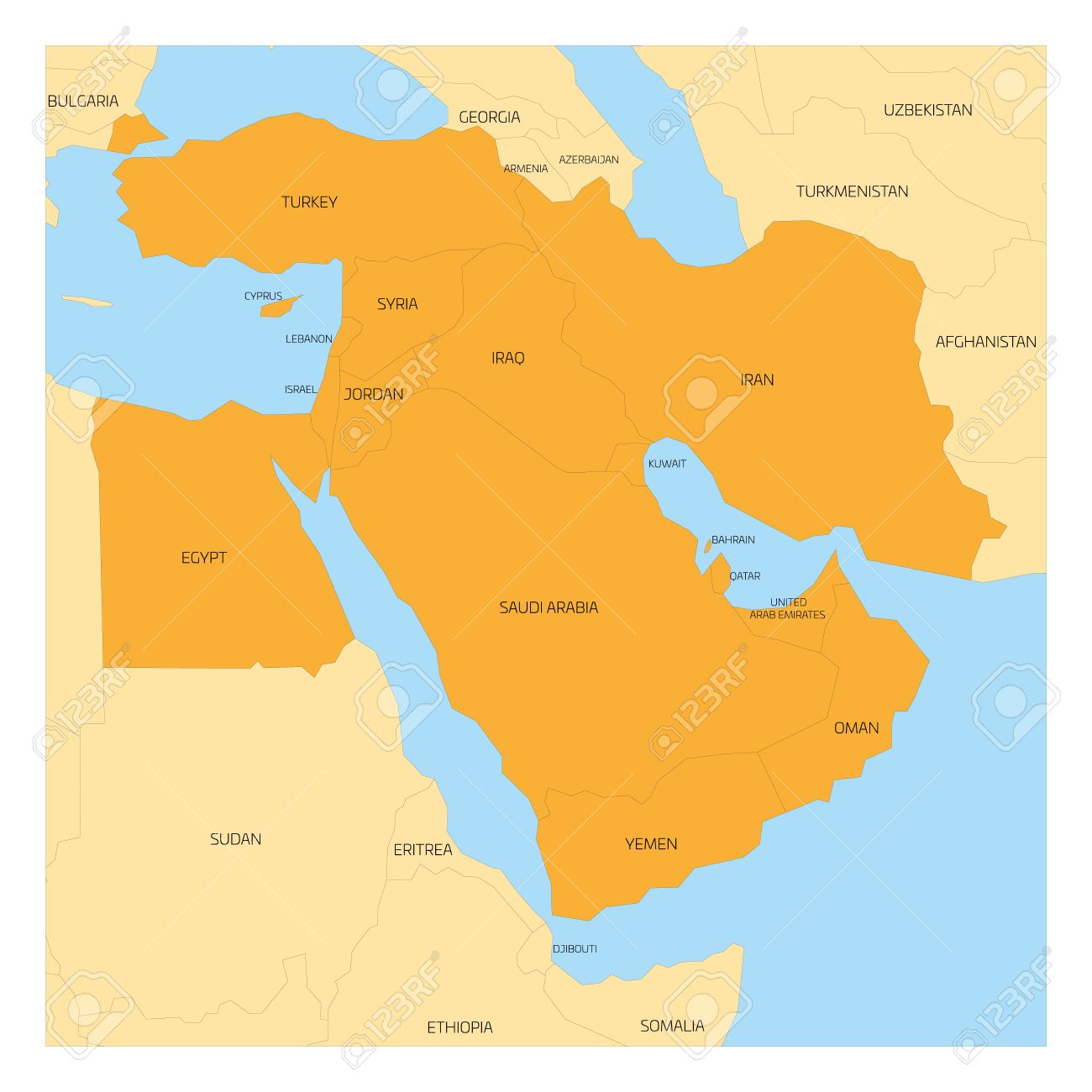 Map Of Middle East Or Near East Transcontinental Region With - Map of egypt and middle east