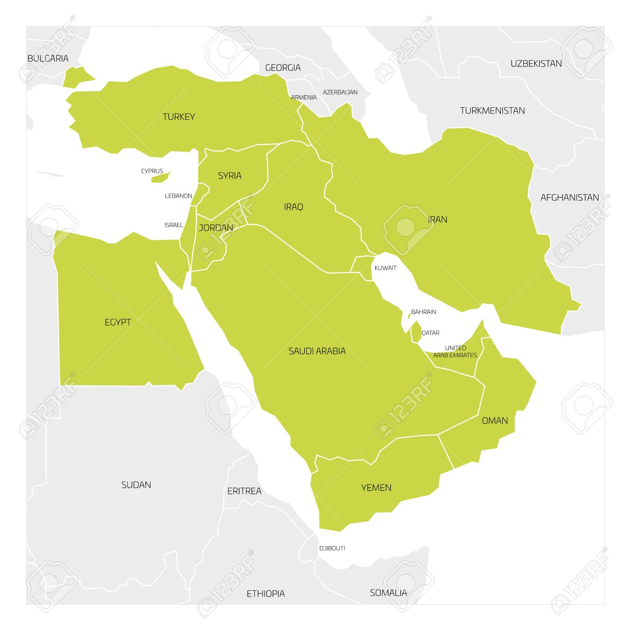 Map of Middle East or Near East transcontinental region with..
