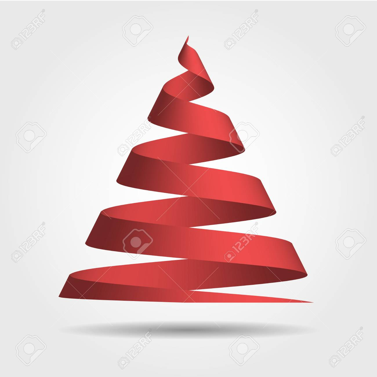 Simple Red Ribbon In A Shape Of Christmas Tree Merry Christmas Royalty Free Cliparts Vectors And Stock Illustration Image 69341318