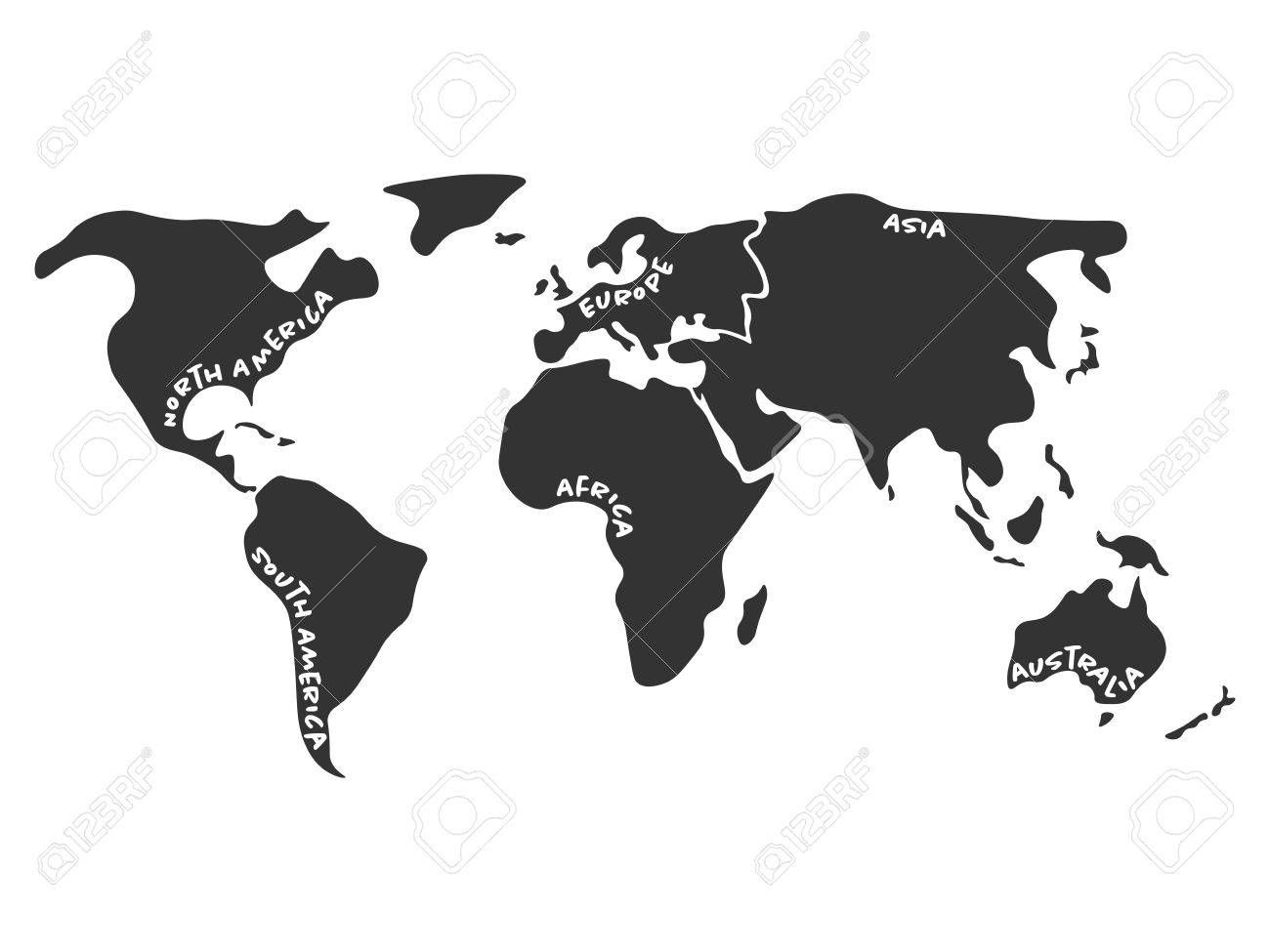 World map divided to six continents in dark grey north america world map divided to six continents in dark grey north america south america gumiabroncs Image collections