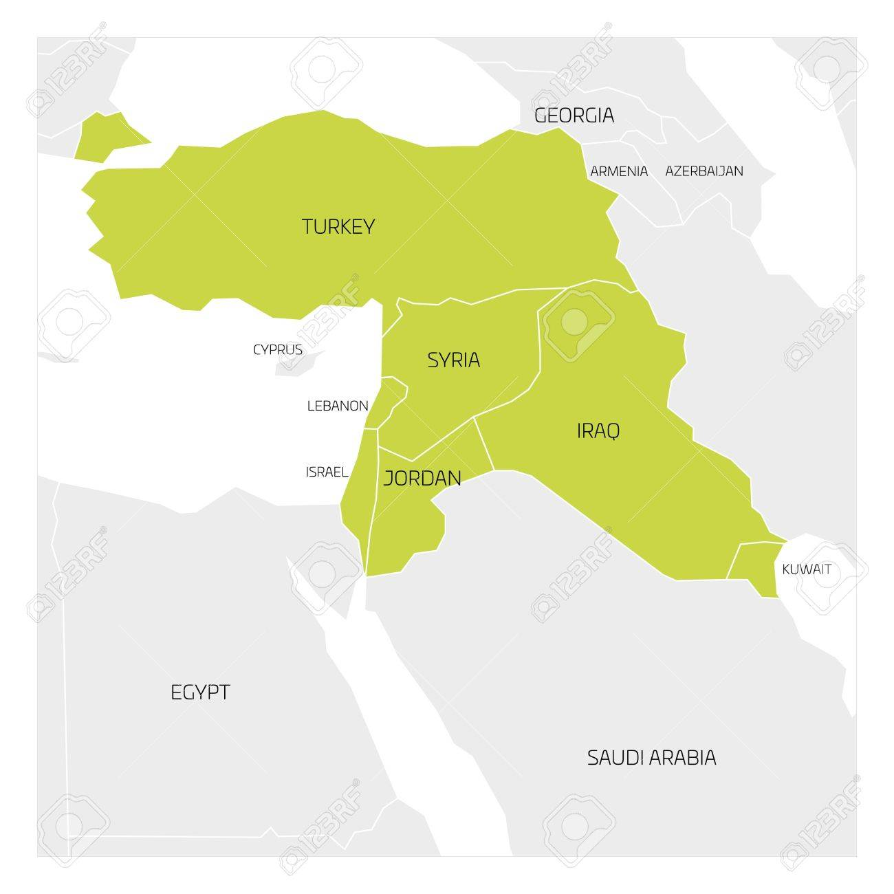 Map Of Middle East Or Near East Transcontinental Region With - Map of egypt israel jordan syria